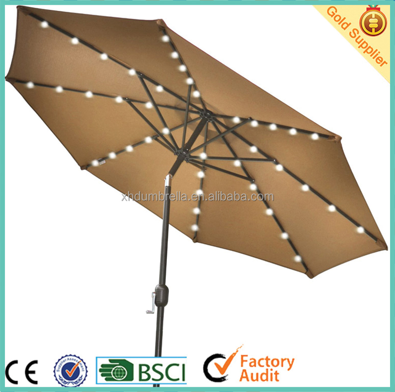 aluminium patio umbrella with led light for garden umbrella and beach umbrella