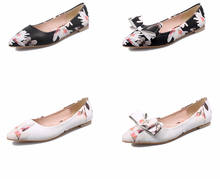 American and european style footwear ladies shoes floral pointed toe fashion flat women shoes