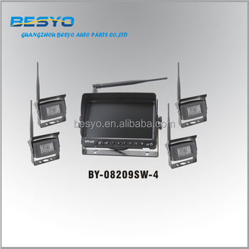 Wireless auto reversing camera system,9 inch digital wireless monitor with 4 cameras system BY-08209SW-4