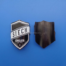 soft enamel plating black nickel metal bended bicycle car logo id emblem with 3M sticker
