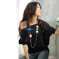 Stylish Lady Women O-k Batwing Sleeve Casual Loose Stretch Tops Blouse with Beads