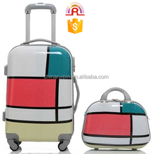 beautiful ABS+PC Print luggage+cosmetic bag sets