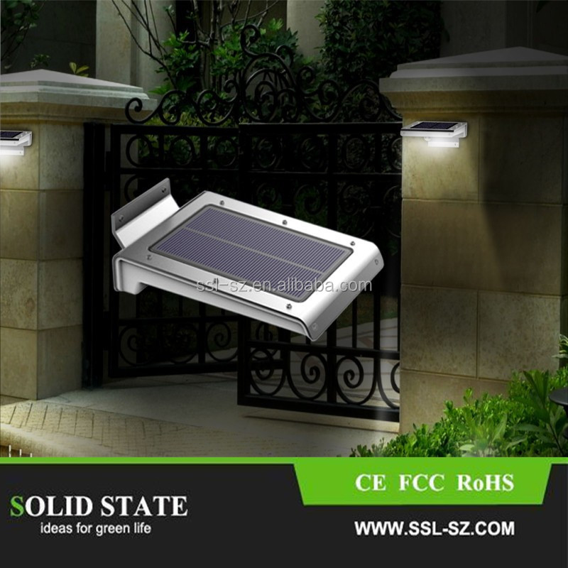 2016 new design warm white 46leds 2w pir motion sensor solar led path lights panel