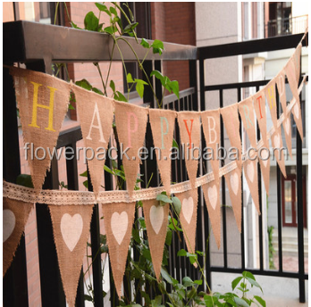 happy birthday decorative jute flag banner