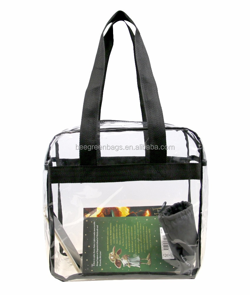 BeeGreen Clear Vinyl PVC 12*12*6 Stadium Shopping Tote Bags With 35-Inch Long Handles