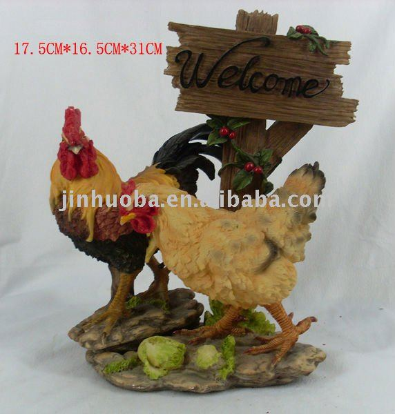 Resin rooster for garden decoration