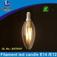 Langma 2016 New Design Filament Candle Light Bulbs 4W 8W 12W E14 230V 220V Dimmable C35 Lamp 360 Degree Bulb