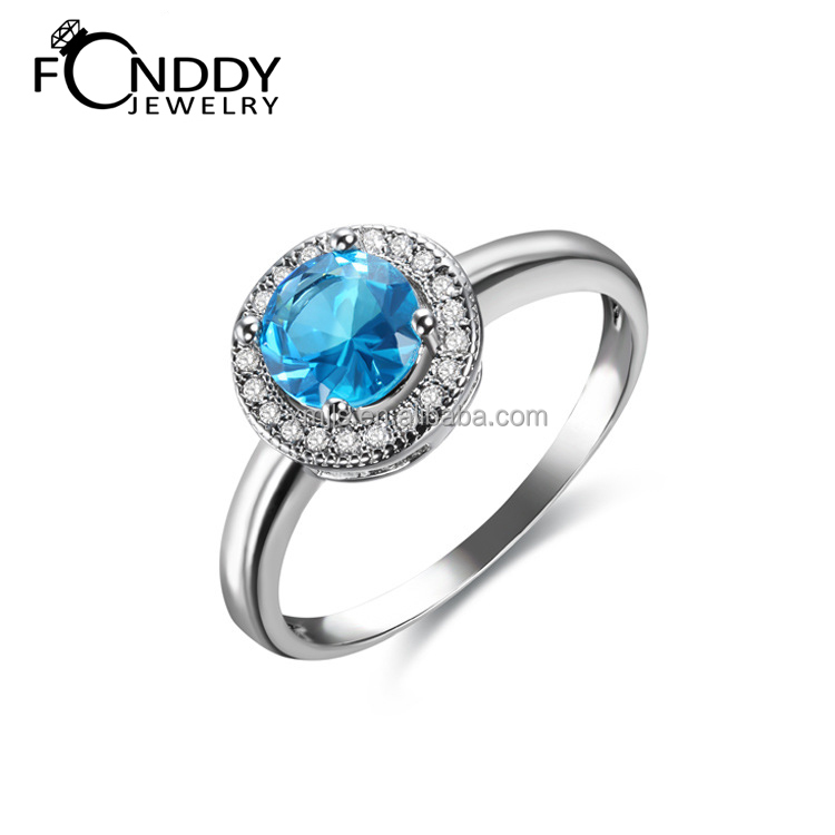 Platinium plated 925 sterling silver gemstone rings for ladies