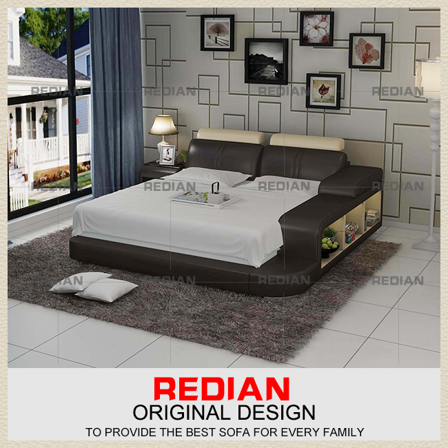 New fashion Design Genuine leather bed with drawers
