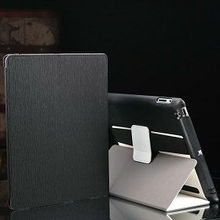 Funtional leather case for ipad 4 with arm band and loud speaker , flip cover case for tablet