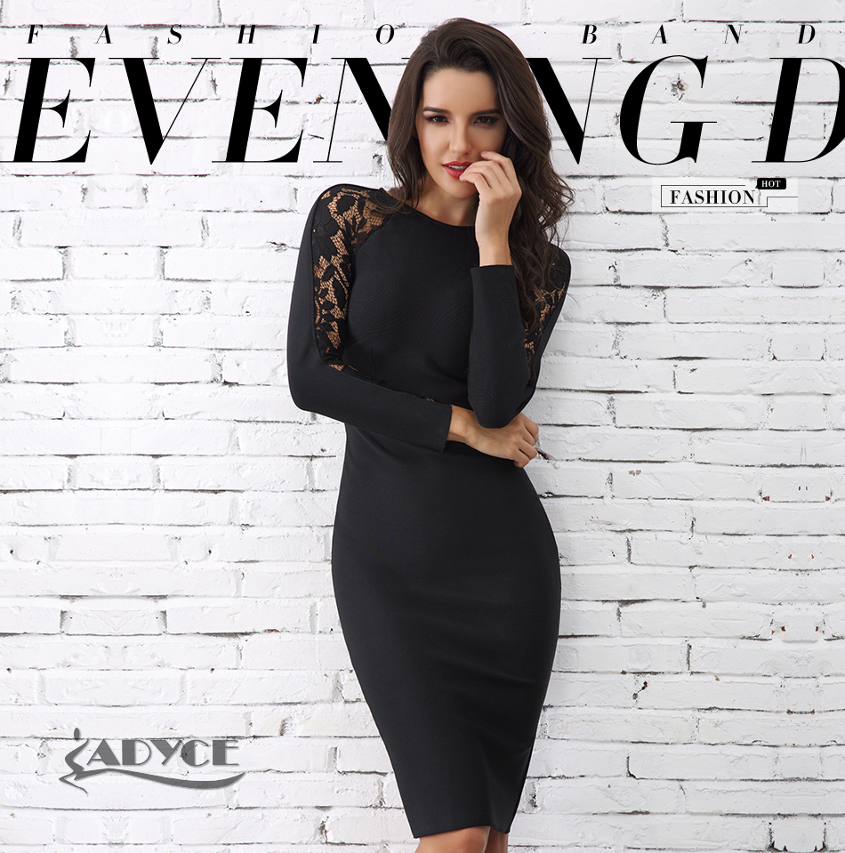 Adyce 19 Winter Elegant Lace Bandage Dress Women Black Floral Long Sleeve Hollow Out Clubwear Sexy Midi Celebrity Party Dress 1