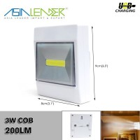 Powered By 3*AAA Battery 3W COB 200LM Wireless LED Switch Light Under Cabinet Lighting