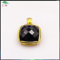 fashion jewelry 2017 wholesale Charms hot sale Black Onxy Brass Pendant Plated 18K Gold