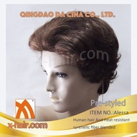 Style: Alessa Human hair and Heat resistant synthetic hair blended Pre-styled Hand tied Mono Top Machine made wigs