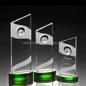 Different Sizes Golf Ball Custom Crystal Award With Green Crystal Base