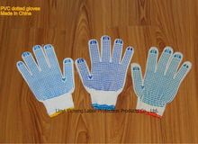 cotton knit dot grip gloves with one side PVC dotted