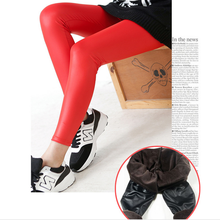 Sexy Red pu leather warm fur leggings tight pants wholesale