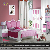 wholesale Korean style modern pink princess girls single bed with storage