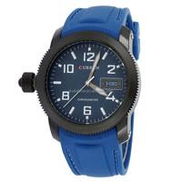 Fashion Curran brand silicone strap analog displays the date quartz watch negative direction casual men's watch