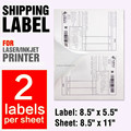 "blank shipping label 8.5x5.5 A4/letter stickers 2 per sheet size 5-1/2"" X 8-1/2"" usps label 5.5 x 8.5 inch"