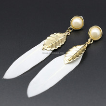 fashion feather simple gold earring designs for women C12