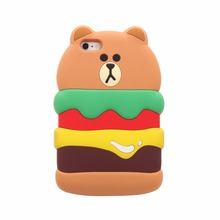 3D Cute simulation food hotdog hamburger bread soft silicone case cover skin For iPhone5 5s se/6 6s/6plus 6splus
