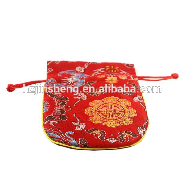 Chinese style brocade embroidery cloth fabric drawstring jewelry bag
