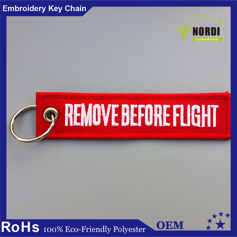 Embroidered keychain/Key tag/KEYRING alpha jet/remove/customized Remove Before fly Keychain