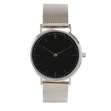 Black Dial Silver Mesh Mens Watch Custom Made Minimalist Style Watches No Brand Watch