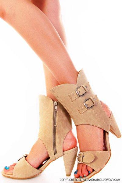 Beige Suede Buckle Decoration Cuff Shootie Heels