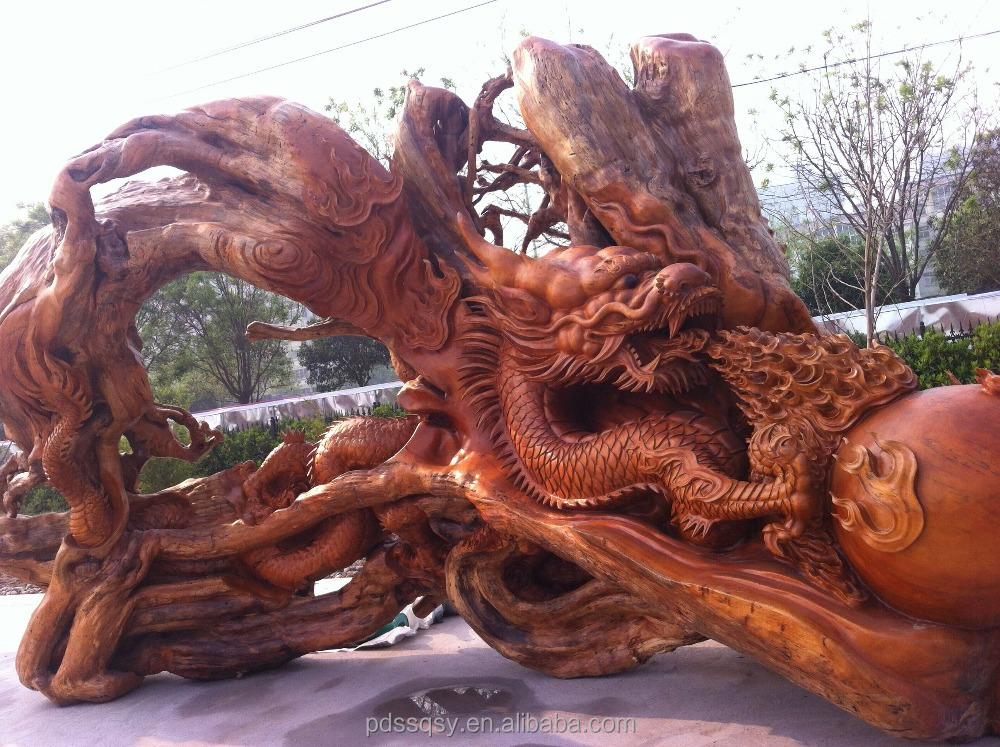 Chinese wood carving two dragons frolicking with a pearl