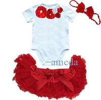 Newborn Baby Girls Red Pettiskirt Crystal Rosettes White Romper and Headband 3 pcs Set NB-6M