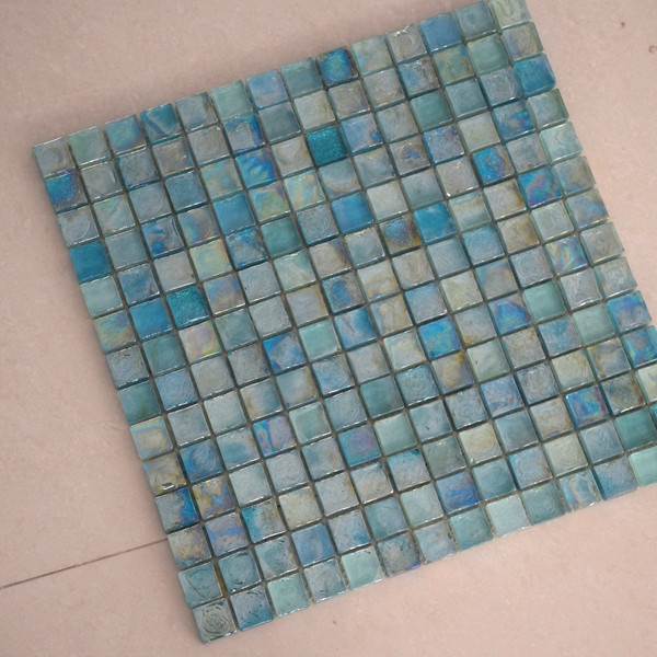 Wholesale iridescent building glass mosaic pool tile for Decor