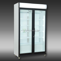 400-800 LITERS DOUBLE GLASS DOORS COMMERCIAL DISPLAY COOLER