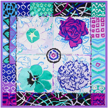 acrylic square fashion flower polyester scarf