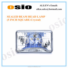 5 inch Crystal sealed beam head lamp 12v / 24v, 100w, 130/100w, 75/50w, 35/35w etc, H4 Bulb 146mm Diameter