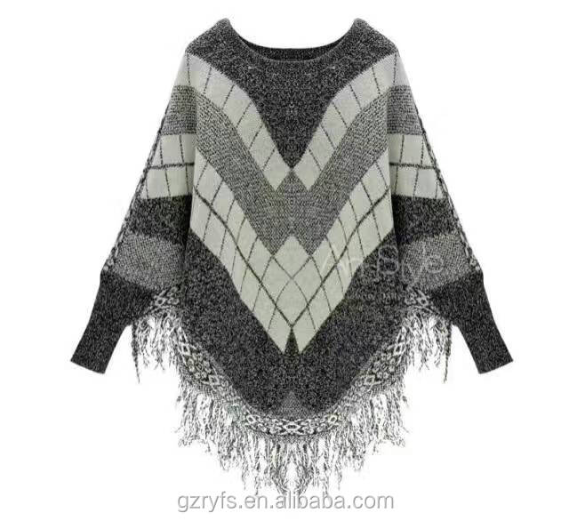 2016 wholesale knit plaid poncho for women