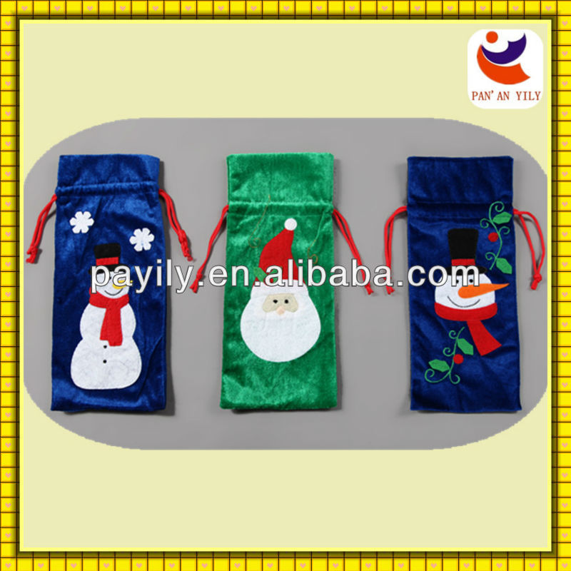 Hot sale xmas series Christmas wine Bottle Bag fabric wine bottle bags