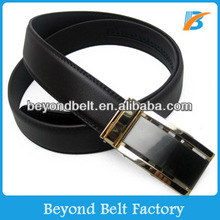 Beyond New Design Black Real Leather Ratchet Belt with Gold Slide Buckle for Office Man