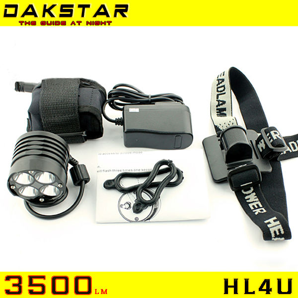 DAKSTAR Newest HL4U Four 3500LM CREE XML U2 High Power Rechargeable LED Head Light