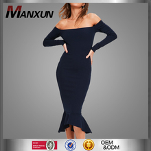 2017 Summer Navy Bardot Fishtail Hem Lady Mature Dress Vintage Dress Retro Bandage Party Prom Dress