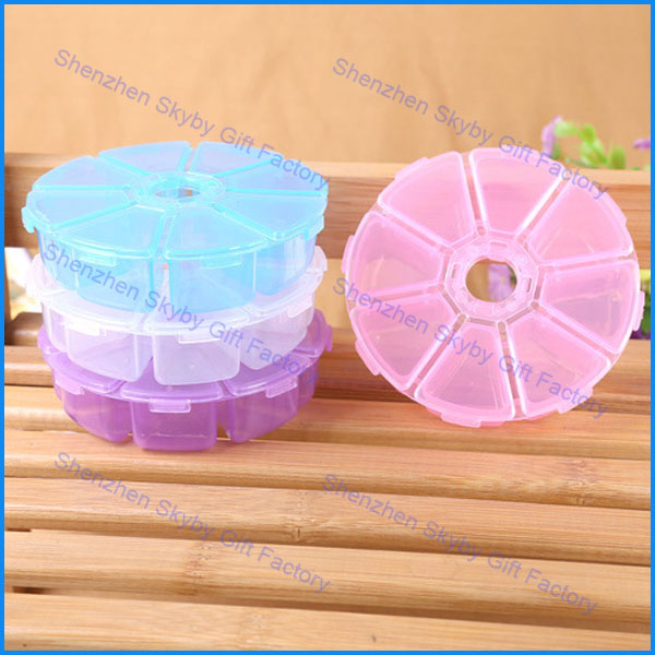 Travel Wholesale 8 Cases Plastic Round Pill Box Organizer