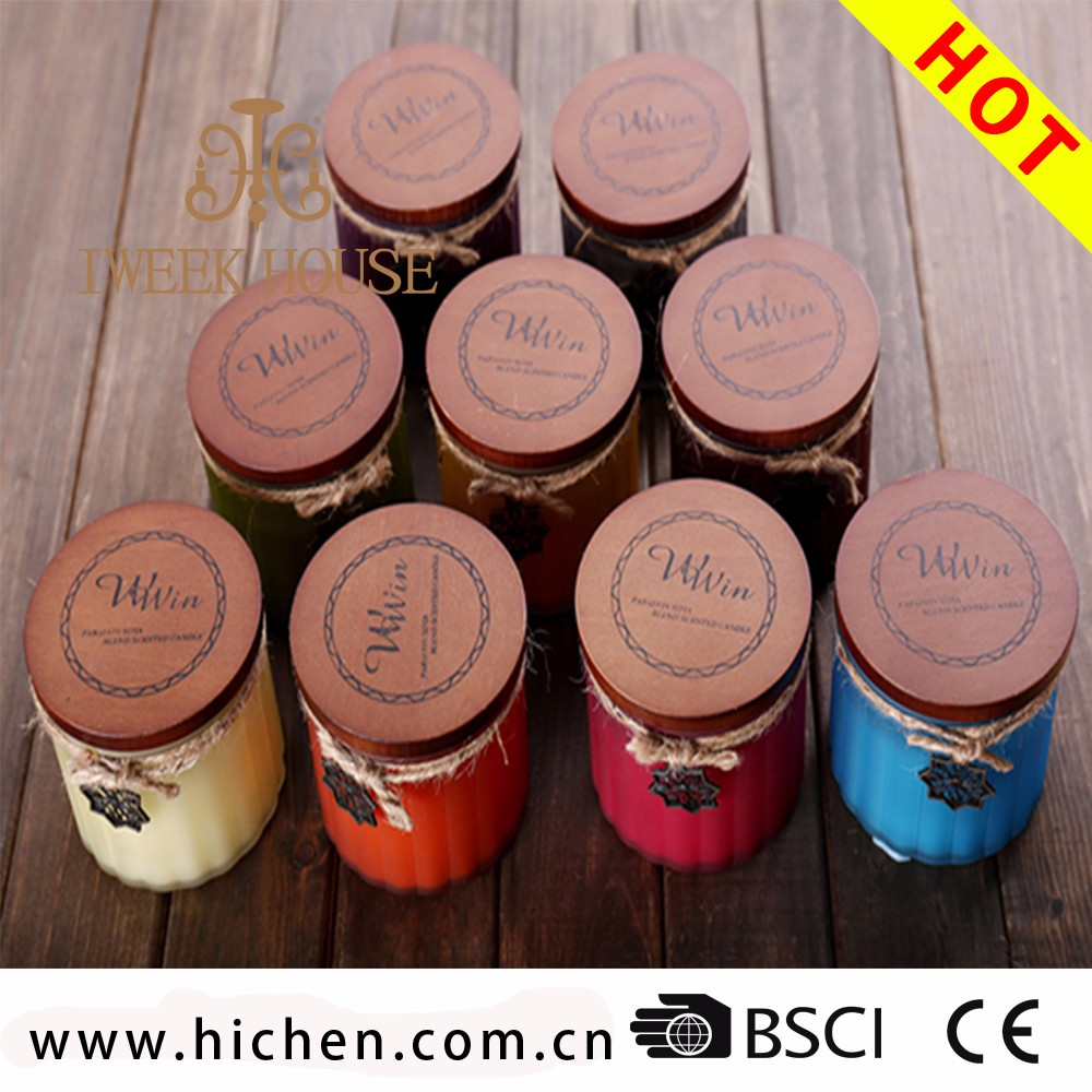 Wholesale Custom Printed Frosted Glass Candle Jar Wood Lid