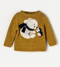 children girl sweater hand knitted sweater cartoon pattern 100% cotton pullover casual style