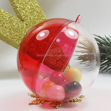 six years experience factory supply SGS hanging openable transparent plastic Christmas balls