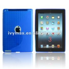 Newest TPU case for Apple new ipad 3 soft TPU blue protective case cover