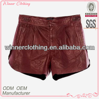 New Style Shiny Red Leather Shorts for Women