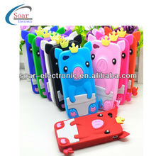 3D Animal Crown Pig Soft Silicone Case for iPhone 4 4s