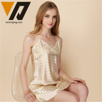 Women Sexy Silk Sleep Sling Dress