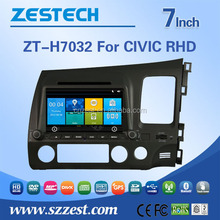 car dvd navigation system For Honda CIVIC RHD car gps with auto radio Bluetooth SD USB Radio wifi 3G
